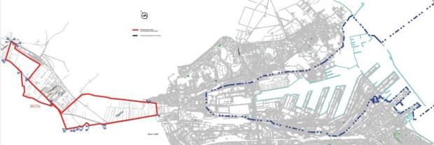Na czerwono zaznaczono tereny, które zostaną włączone do Portu Gdynia.