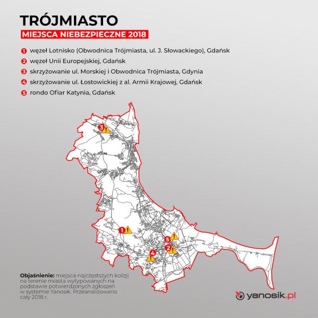 Mapa niebezpiecznych punktów w Trójmieście. W rankingu cztery z pięciu miejsc zlokalizowane są w Gdańsku.