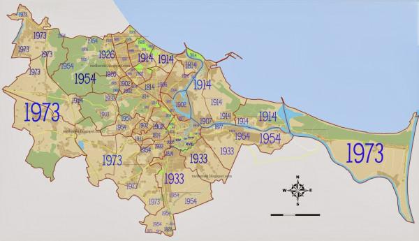 Daty przyłączenia poszczególnych części miasta do Gdańska. Mapę przygotował Jakub Raciborski, trójmiejski przewodnik i pilot wycieczek na podstawie podziału morfogenetycznego miasta oraz przewodników i opracowań nt. historii Gdańska.