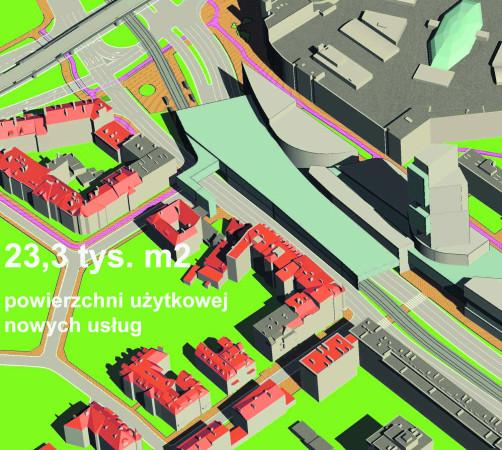 Jedna z koncepcji przekształcenia wysepki sugeruje budowę obiektu zawieszonego nad jezdnią al. Grunwaldzkiej i torami tramwajowymi.