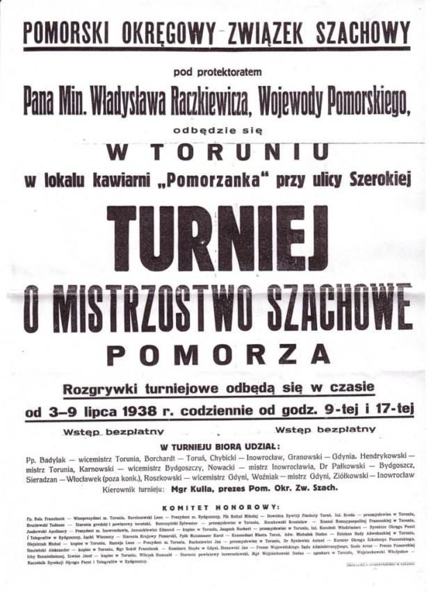 Plakat informujący o szachowych mistrzostwach Pomorza, które odbyły się latem 1938 roku w Toruniu. Gdynię reprezentowali na nich Roszkowski - wicemistrz miasta i Tadeusz Woźniak - mistrz Gdyni.
