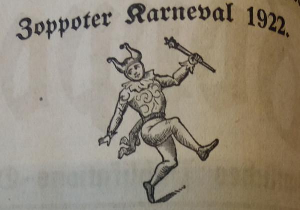 Rysunek błazna z notki prasowej poświęconej Sopockiemu Karnawałowi w 1922 r. (Zoppoter Zeitung, 28.02.1922).