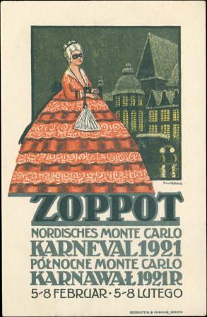 Pocztówka prezentująca dwujęzyczny plakat, reklamujący pierwszą edycję Sopockiego Karnawału, 1921 r.