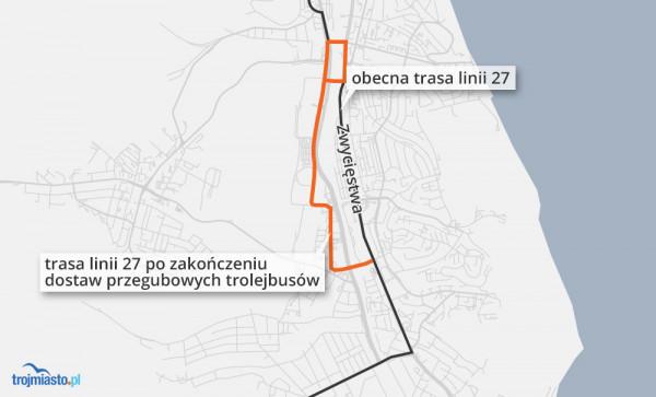 Trasa linii, na której pojadą trolejbusy.