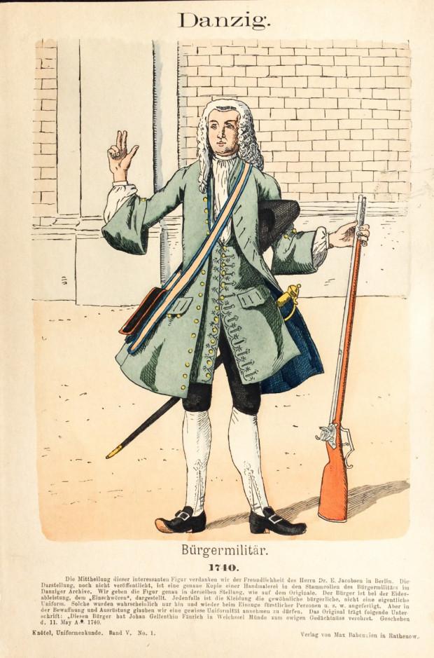 Gdańszczanin pełniący obywatelską służbę wojskową pod koniec pierwszej połowy XVIII wieku.