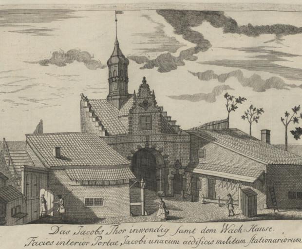Budynki wartowni przy bramie św. Jakuba w Gdańsku.