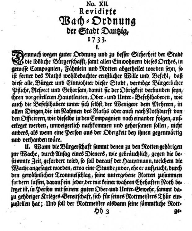 Początek gdańskiego regulaminu służby wartowniczej z 1733 r.