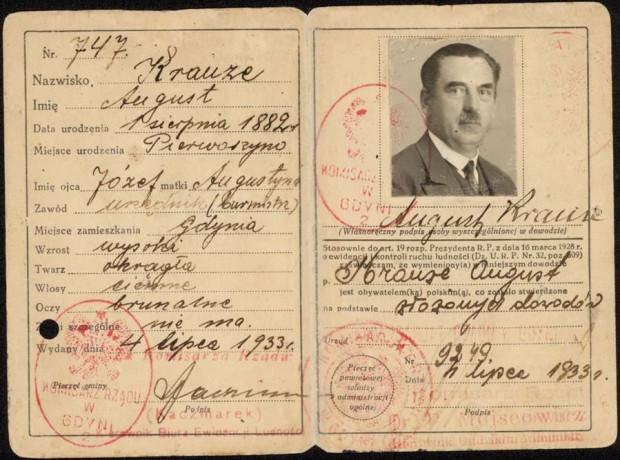 Dowód osobisty Augustyna Krauzego z 1933 roku. Ze zbiorów muzeum Miasta Gdyni