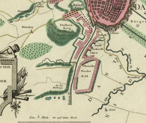 Południowe przedmieścia Gdańska na fragmencie mapy z 1784 r.