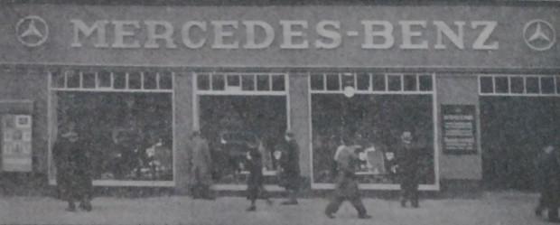 """Zdjęcie salonu samochodowego marki Mercedes-Benz, otwartego na początku kwietnia 1937 r. przy Elisabethwall, czyli obecnych Wałach Jagiellońskich (""""Danziger Neueste Nachrichten"""", 3.04.1937). Ze zbiorów PAN Biblioteki Gdańskiej"""