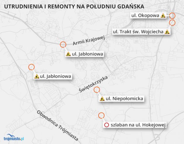 Utrudnienia i remonty na południu Gdańska.