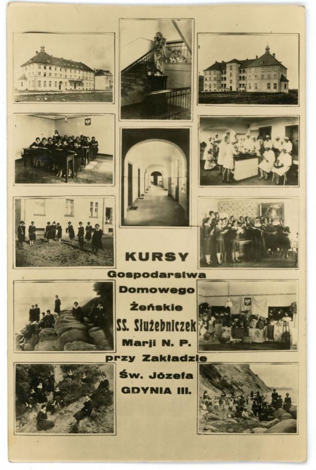 Pocztówka promująca działalność sióstr służebniczek prowadzących na Oksywiu ochronkę i zakład dla dzieci. Ze zbiorów Muzeum Miasta Gdyni
