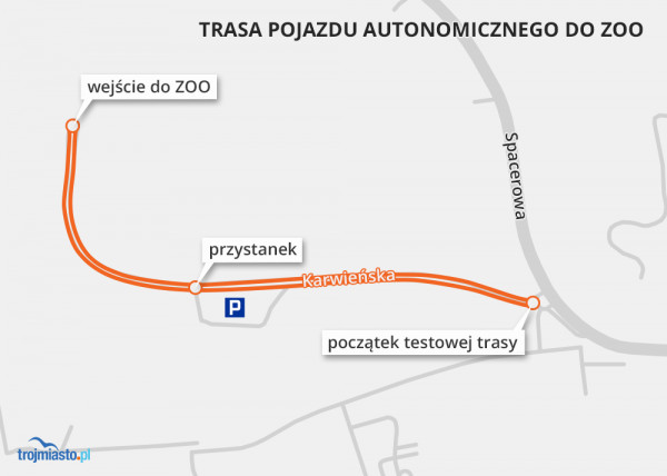 Testowa trasa pojazdu autonomicznego, jaki wkrótce kursować będzie między Spacerową a zoo.