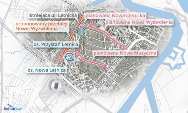 Na pomarańczowo zaznaczono propozycję części mieszkańców Nowego Portu.