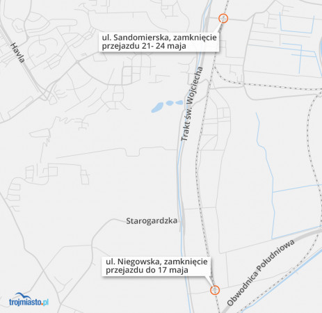 Przejazd przy Sandomierskiej zostanie zamknięty we wtorek 21 maja.