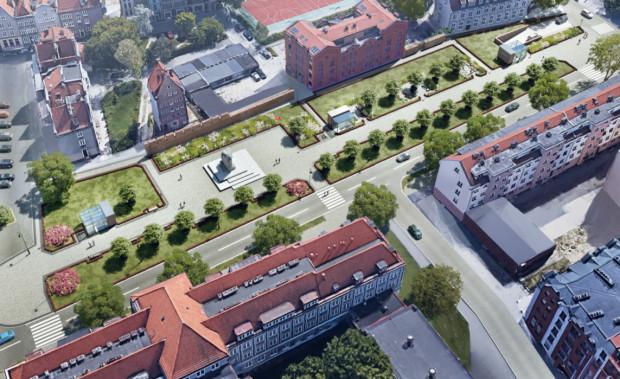 Zagospodarowanie terenu przy Podwalu Staromiejskim po wybudowaniu podziemnego parkingu. W prawym górnym rogu widać wjazd do obiektu.