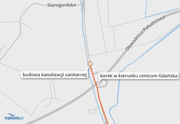 Korek w kierunku centrum Gdańska sięga w porannym szczycie Pruszcza Gdańskiego.