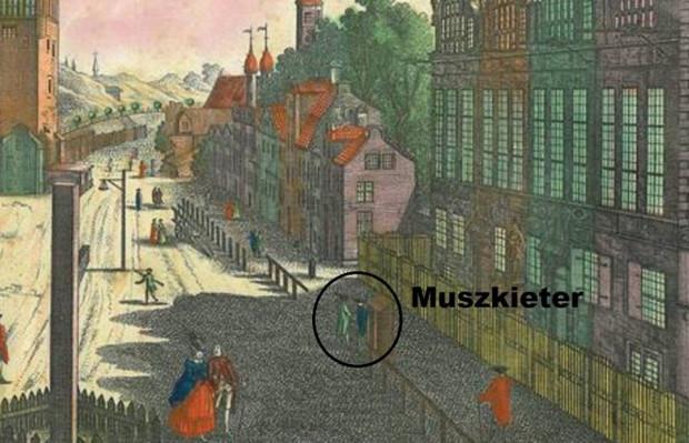 Muszkieter przy Zbrojowni. Rysował Balthasar Friedrich Leizer.