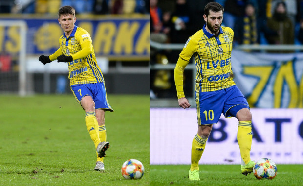 Maciej Jankowski (z lewej) i Luka Zarandia (z prawej) pojawili się w wyjściowym składzie w pierwszym sparingu przeciwko Elanie Toruń. Niewykluczone jednak, że obaj zmienią barwy klubowe przed startem sezonu 2019/2020.