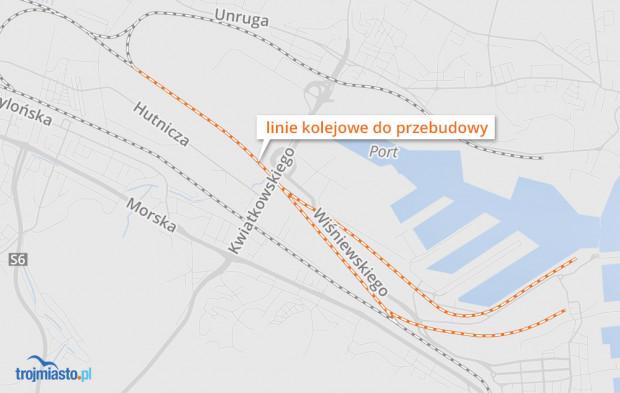 Tory prowadzące do portu w Gdyni, które zostaną przebudowane.