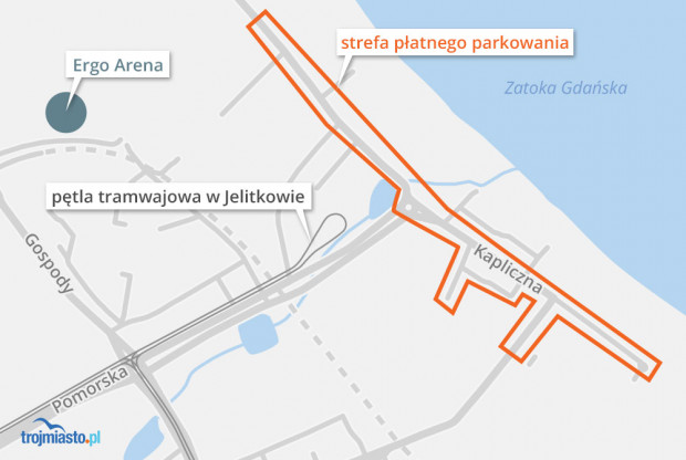 Sezonowa strefa płatnego parkowania w Jelitkowie.