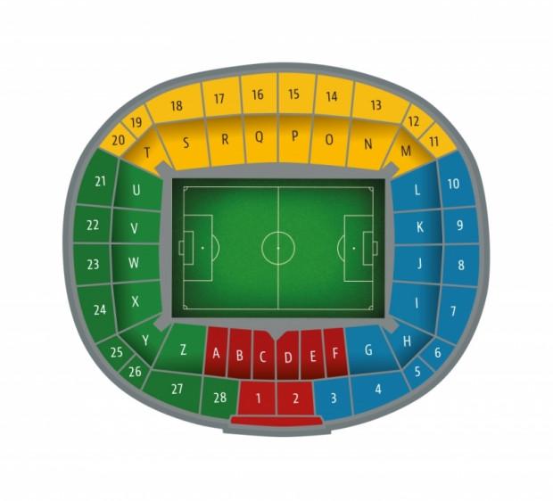 Rozkład sektorów na Stadionie Energa Gdańsk, na którym oficjalne mecze rozgrywa Lechia Gdańsk.