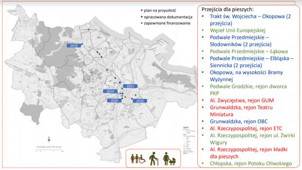Planowane nowe naziemne przejścia dla pieszych w Gdańsku.