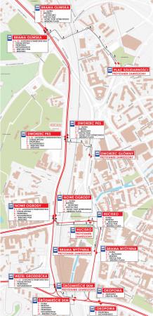 Szczegółowy schemat zmian w komunikacji tramwajowej