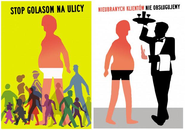 Takie plakaty zwracają uwagę klientom sopockich lokali na konieczność posiadania stosownego ubioru.