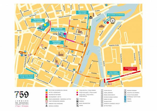 Mapa atrakcji Jarmarku św. Dominika 2019. Na skwerze Świętopełka zaplanowano małą scenę koncertową, stoiska gastronomiczne, leżaki i pufy.