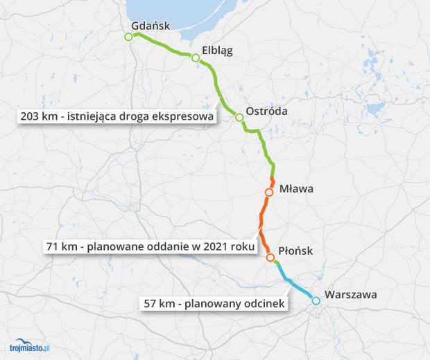 Zaawansowanie prac przy budowie drogi ekpresowej S7 do Warszawy.