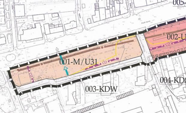 Fragment planu zagospodarowania z 2011 r. Budynek Budimeksu powstał w terenie 001-M/U31. Od strony północnej widoczny jest przebieg kanału sanitarnego wzdłuż ul. Długie Ogrody.