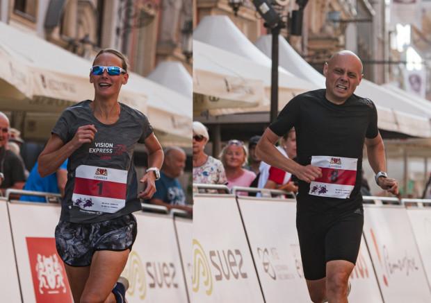 Triumfatorzy Biegu VIP: Magdalena Bubeła-Pikus i Jacek Rajski.