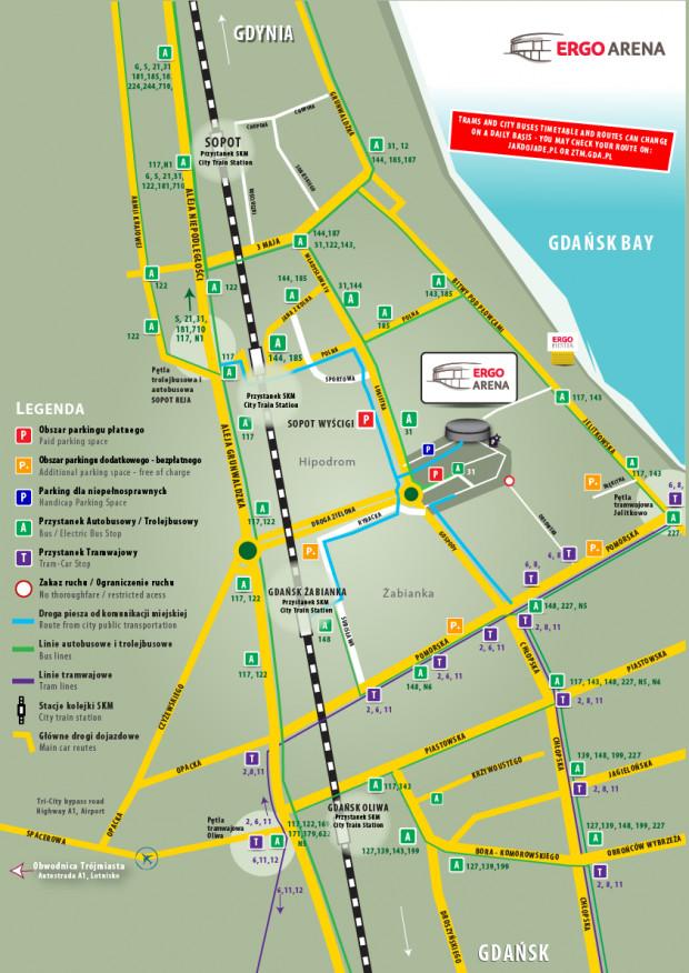 Dojazdy do Ergo Areny i parkingu podczas turnieju kwalifikacyjnego do igrzysk olimpijskich siatkarzy.