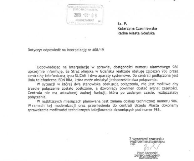Na interpelację radnej ws. straży miejskiej odpowiedział wiceprezydent Piotr Borawski.
