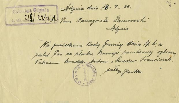 """Pismo sołtysa Jana Radtkego do """"Pana Nauczyciela Kamrowskiego"""" z 18.04.1924 r. Ze zbiorów Muzeum Miasta Gdyni."""
