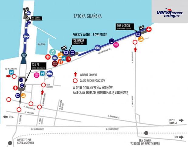 Mapa gdyńskiej edycji Verva Street Racing (24.08.2019 i 25.08.2019).
