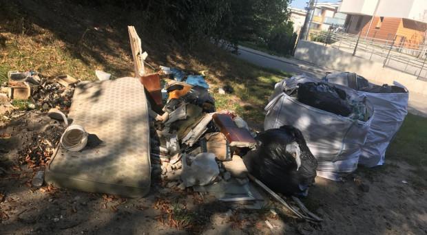 Śmieci przy wejściu do lasu przy ul. Płockiej.