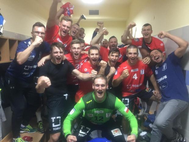 Piłkarze ręczni Torus Wybrzeża Gdańsk po zwycięstwie w Mielcu.