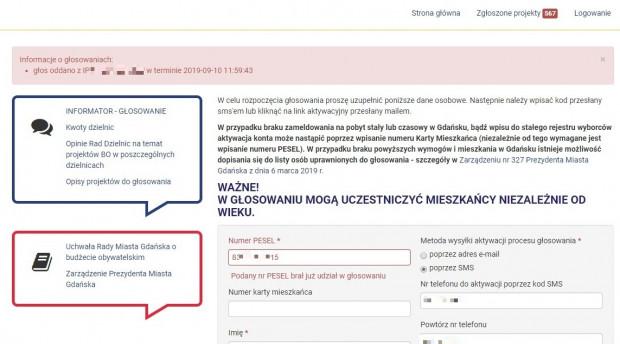Numer IP oraz termin głosowania przez wiceprezydenta Gdańska Piotra Borawskiego. Identyczne informacje uzyskaliśmy dla wszystkich pozostałych osób, które sprawdziliśmy.