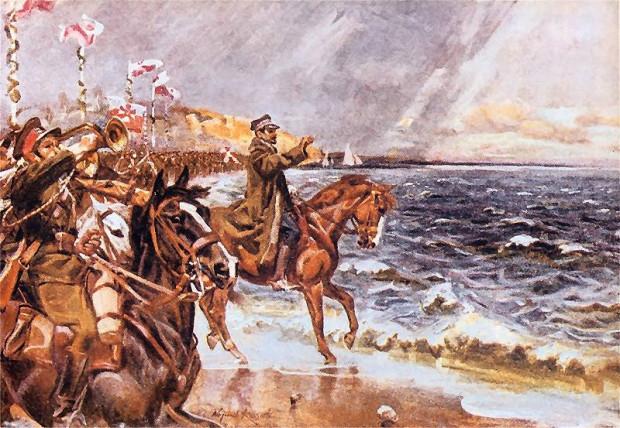 """Obraz Wojciecha Kossaka """"Zaślubiny Polski z Bałtykiem"""", na którym utrwalono wydarzenie z 20 lutego 1920 roku na plaży w Pucku."""