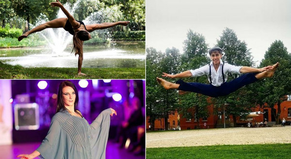"""Musical """"Co ty powiesz"""" powstaje dzięki pasji tancerzy i wokalistów Akademii Artystycznej. Na zdjęciu Monika Rudnicka (u góry), Karolina Potakowska (na dole) oraz Krystian Hintzke (po prawej)."""