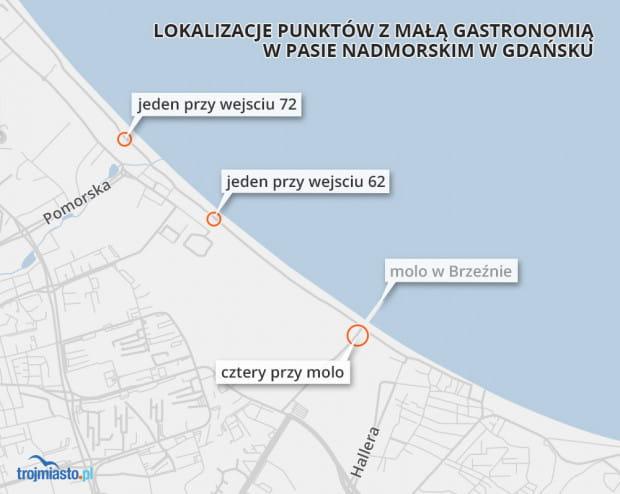 Kawiarenki staną w sześciu lokalizacjach: przy wejściu na plaże nr 63 i 72 oraz w czterech miejscach w okolicy dojścia do molo w Brzeźnie.