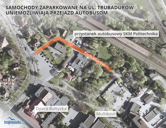 Ulica Trubadurów to wąska i stosunkowo krótka ulica we Wrzeszczu, która sąsiaduje ze stacją kolejową SKM Politechnika. Mieści się tam także przystanek autobusowy.