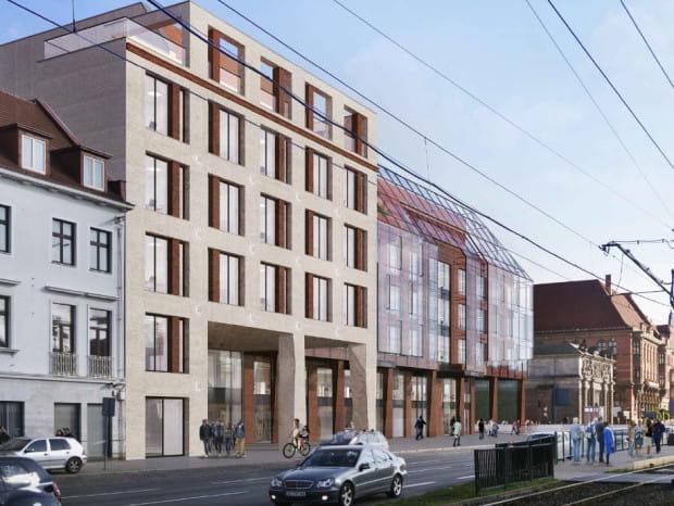 Tak wyglądała konkursowa wersja budynku nowego LOT-u, jednak inwestor zapewnia, że projekt został zmieniony, chociaż nie są to radykalne zmiany.