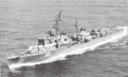 """Niszczyciel typu Siewiernyj. Jednostką tego typu był ORP """"Grom"""", który służył w Marynarce Wojennej w latach 57-73."""