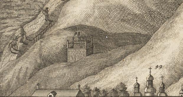 Gdańska szubienica. Fragment widoku Gdańska z ok. 1730 r.