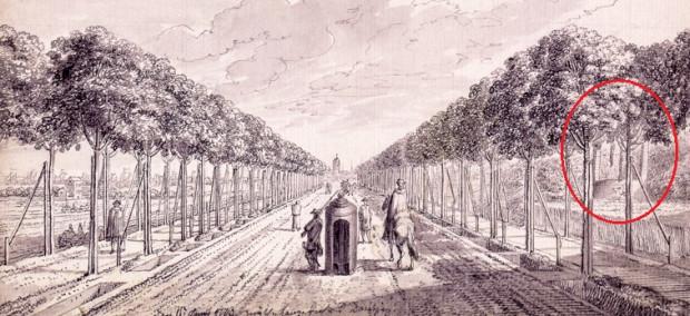 Fragment rysunku Daniela Chodowieckiego z 1773 r., przedstawiający Wielką Aleję. Z prawej strony, za drzewami, widoczny budynek szubienicy.
