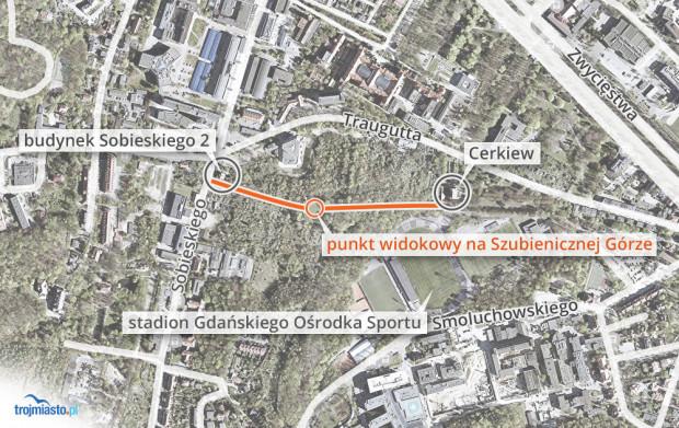 Na Szubieniczną Górę najlepiej dojść od strony ul. Sobieskiego (ścieżka obok budynku przy ul. Sobieskiego 2) lub od strony cerkwi stojącej przy ul. Traugutta.