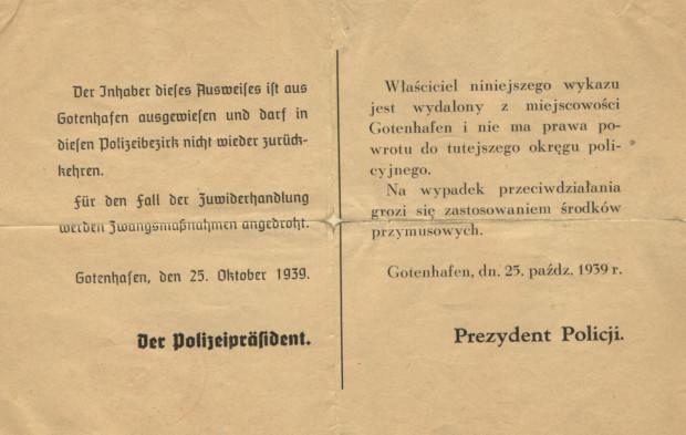 Dokument informujący o wysiedleniu, który otrzymywali opuszczający miasto gdynianie w 1939 r. Zbiory Muzeum miasta Gdyni.
